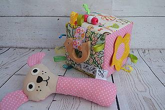 Hračky - Hrkálka - ružový psík - 9442905_