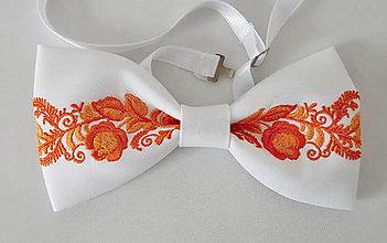 Doplnky - vyšívaný pánsky motýlik+ krabička (pánsky vyšívaný motýlik oranžový) - 9443180_