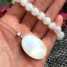 Náhrdelníky - Vivid Sterling Silver Moonstone Necklace/ Strieborný náhrdelník s veľkým príveskom mesačného kameňa Ag925 /0279 - 9447416_