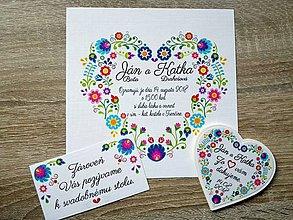 Darčeky pre svadobčanov - svadobné oznámenie, pozvánka, magnetka vo folklórnom dizajne - 9447720_