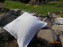 Úžitkový textil - Vankúš  z ručne tkaného ľanu - 9446696_