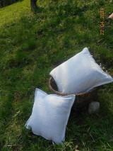 Úžitkový textil - Vankúš  z ručne tkaného ľanu - 9446702_