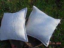 Úžitkový textil - Vankúš  z ručne tkaného ľanu - 9446707_