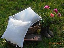 Úžitkový textil - Vankúš  z ručne tkaného ľanu - 9446709_