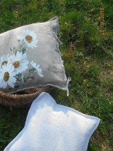 Úžitkový textil - Margarétky a bylinky - ľanový vankúš - 9446735_
