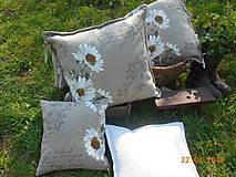 Úžitkový textil - Margarétky a bylinky - ľanový vankúš - 9446762_