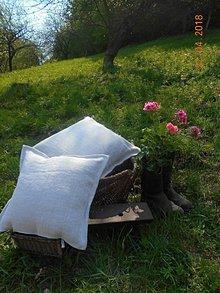 """Úžitkový textil - Vankúš """"Starohutský"""" - z ručne tkaného ľanu - 9446705_"""