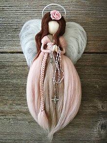 Dekorácie - Anjel z ovčej vlny k prvému svätému prijímaniu - 9446837_