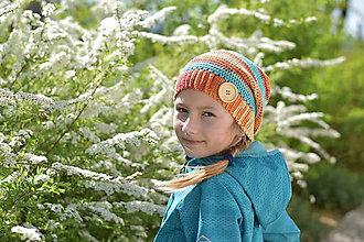 Detské čiapky - Zľava zo 14,50 na 10 eur-Oranžovo-tyrkysová čiapka - 9447675_