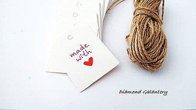Iný materiál - Ozdobná kartička Handmade with Love - biela - 9444840_