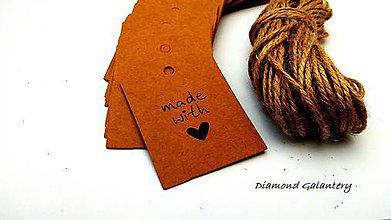 Iný materiál - Ozdobná kartička Handmade with Love - hnedá - 9444842_