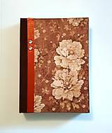 """Papiernictvo - Ručne šitý diár * zápisník ,,Brown flowers"""" A5 - 9445047_"""