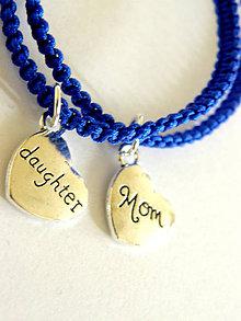 Náramky - mama & dcera - srdce - modra shamballa - 9447131_