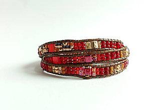 Náramky - wrap náramok červeno zlatý - 9447867_
