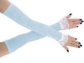 Rukavice - Svadobné zamatové modré rukavičky 1085d - 9447936_