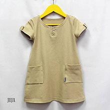 Detské oblečenie - Béžové šaty s vreckami - 9447793_