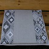 Úžitkový textil - Indiánsky vzor šedý(3) - podsedák do záhrady 40x40 - 9446784_