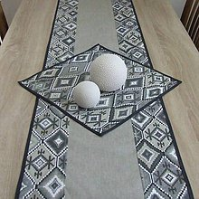 Úžitkový textil - Indiánsky vzor šedý(1) - stredový obrus - 9447037_