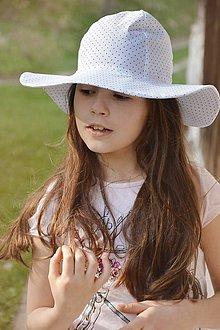 Čiapky - Letný klobúk Small dots & white -dámsky,detský dievčenský - 9447905_