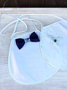 Iné doplnky - Saténové svadobné podbradníky modrý motýlik - 9444740_