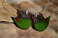 Náušnice - ptáčci (Zelená) - 9444898_