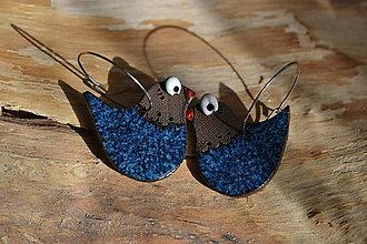 Náušnice - ptáčci (Modrá) - 9444905_
