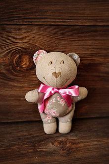 Hračky - FILKI macko (Šedohnedý s ružičkami) - 9445146_
