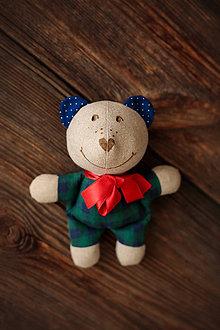 Hračky - FILKI macko (Modrozelené kocky) - 9445147_