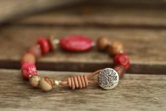 Náramky - Boho náramok z minerálu regalit, jaspis, achát - 9270884_