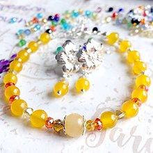 Sady šperkov - Topaz & Flower Earrings & Bracelet Set / Sada náramku a náušníc s topásom /0277 - 9449313_
