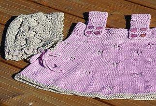 Detské súpravy - Súprava pre dievčatko - šaty a čepček - 9448039_