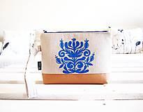 Taštičky - Toaletná taška z ľanovej folk kolekcie - 9449118_