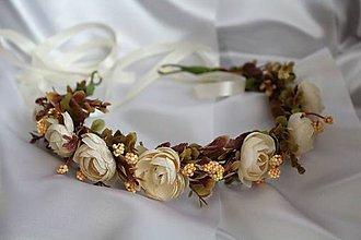 Ozdoby do vlasov - Kvetinový venček krémové pivónie - 9450257_