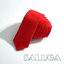 Doplnky - Pánska slim kravata - červená - 9450285_