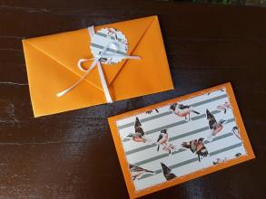 Papiernictvo - Vyšívané pohľadnice - viaceré motívy (Oranžová - vtáky) - 9449585_