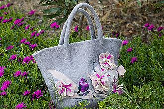 Veľké tašky - Plstena velka taska BIRD and FLOWERS - 9449586_