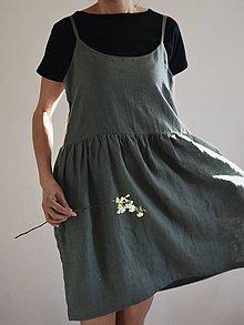 Šaty - Dámske ľanové tielkové šaty ELENA - 9448836_