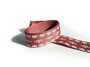 Galantéria - Rypsová stuha 25 mm - Ľudový vzor na jemne červenom - 9449597_