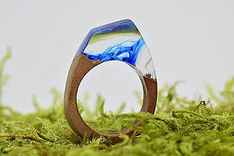 Prstene - Drevený prsten Blue Spirit - 9450665_