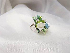 Prstene - Romantický prstienok modro - biely - 9449164_