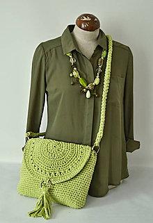 Kabelky - háčkovaná taška -zelené jablko - 9449509_
