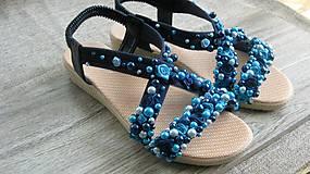 Obuv - FOR YOU blue roses obšívané topánky, sandále č. topánky 39, č.2014 - 9449301_