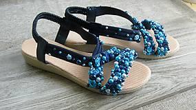 Obuv - FOR YOU blue roses obšívané topánky, sandále č. topánky 39, č.2014 - 9449311_