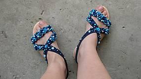Obuv - FOR YOU blue roses obšívané topánky, sandále č. topánky 39, č.2014 - 9449317_