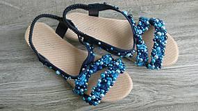 Obuv - FOR YOU blue roses obšívané topánky, sandále č. topánky 39, č.2014 - 9449318_