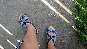 Obuv - FOR YOU blue roses obšívané topánky, sandále č. topánky 39, č.2014 - 9449324_