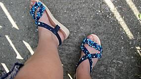 Obuv - FOR YOU blue roses obšívané topánky, sandále č. topánky 39, č.2014 - 9449330_