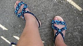 Obuv - FOR YOU blue roses obšívané topánky, sandále č. topánky 39, č.2014 - 9449333_