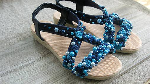 FOR YOU blue roses obšívané topánky, sandále č. topánky 39, č.2014