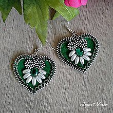 Náušnice - Mini ľudové náušnice (Zelená) - 9450105_